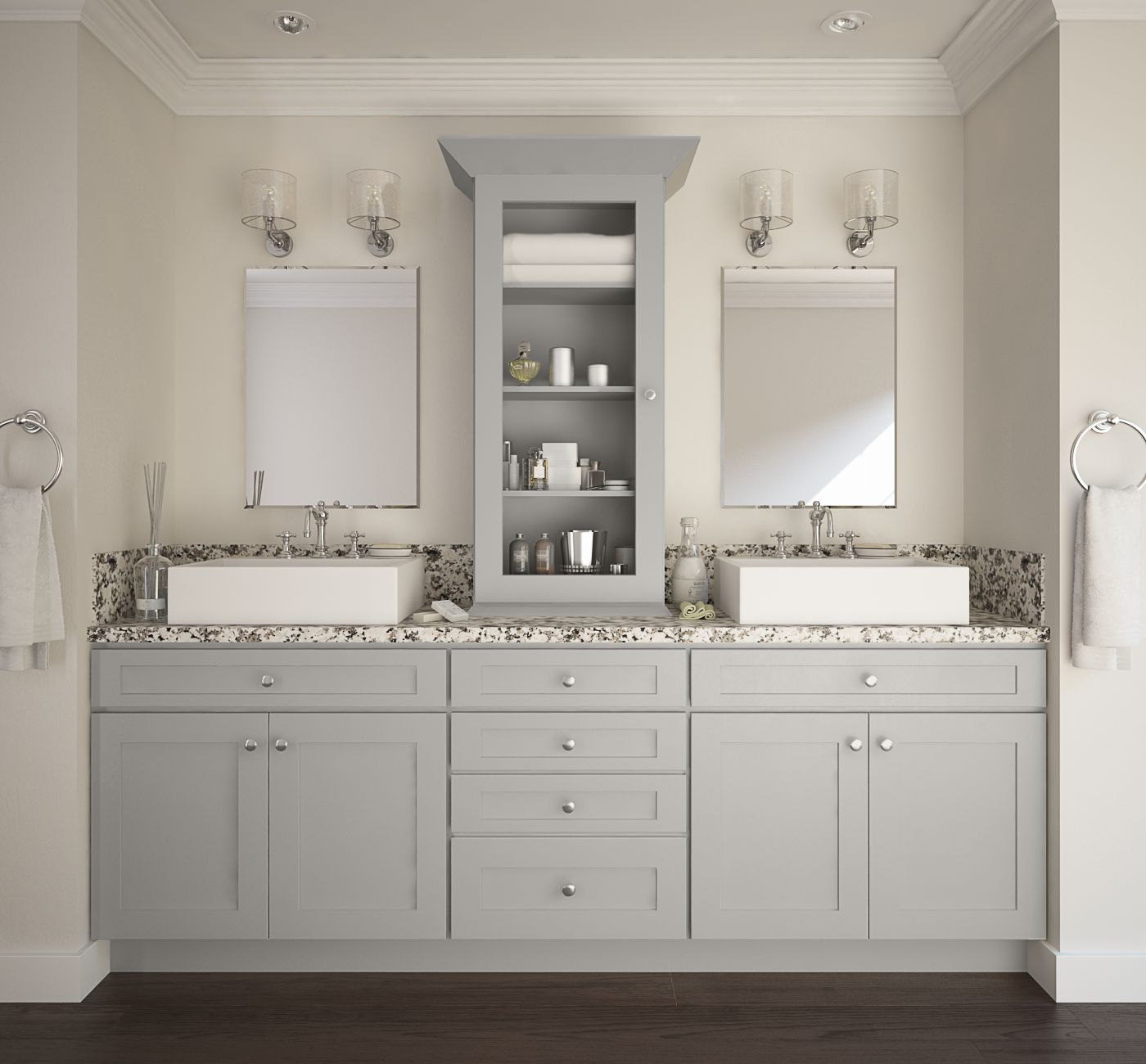 Bathroom Cabinets: Society Shaker Dove Gray Pre-Assembled Bathroom Vanities