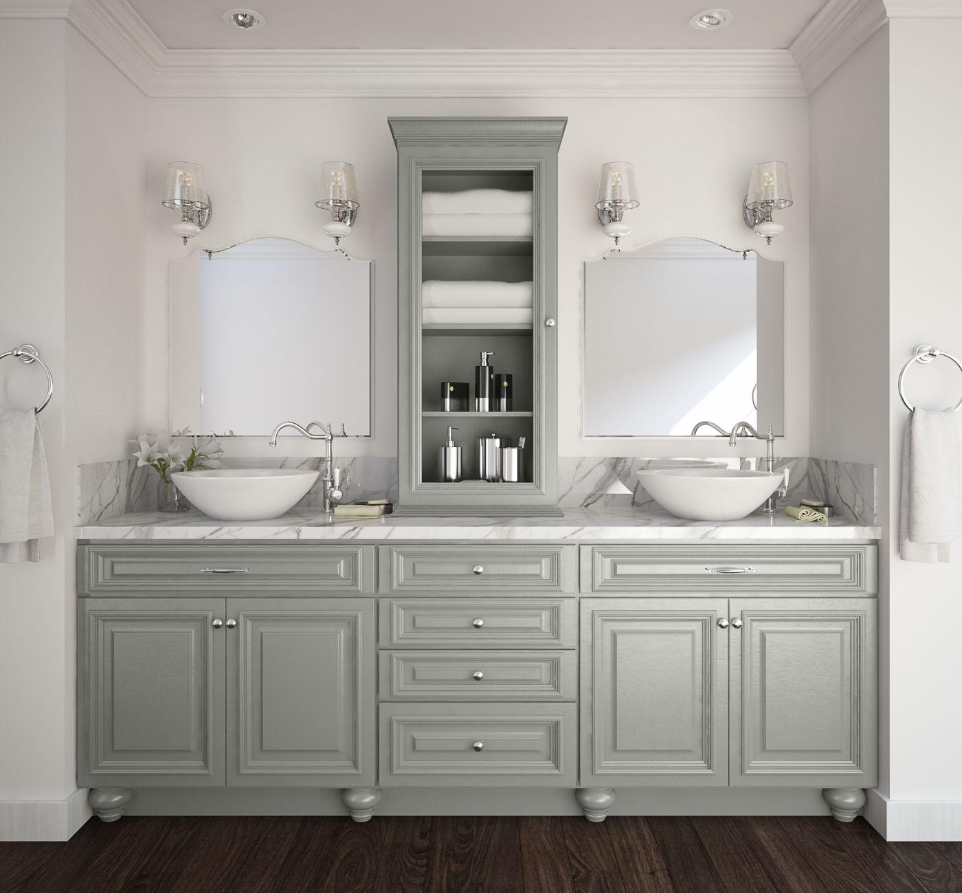 Already Assembled Kitchen Cabinets: Roosevelt Steel Gray Pre-Assembled Kitchen Cabinets