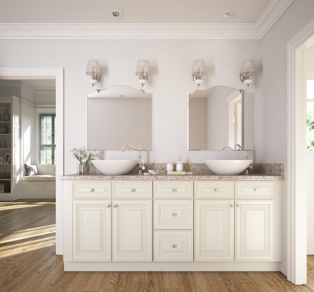 Cambridge Antique White Glaze Ready To Assemble Bathroom