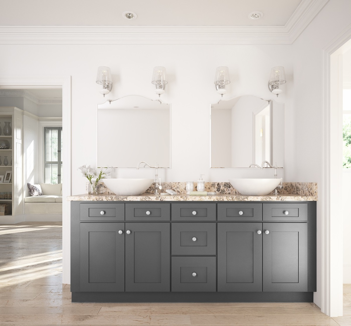 Light grey shaker ready to assemble kitchen cabinets - Grey Shaker Ready To Assemble Bathroom Vanities Grey 20shaker