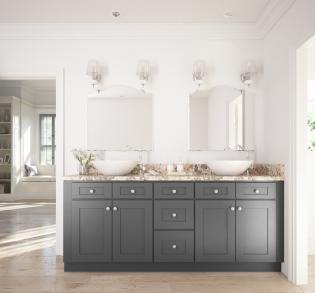 grey shaker ready to assemble bathroom vanities