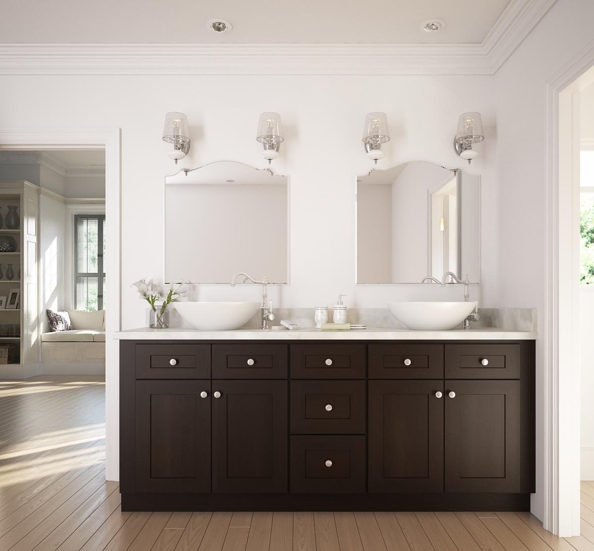 Dark chocolate shaker ready to assemble bathroom - Painting bathroom cabinets black ...