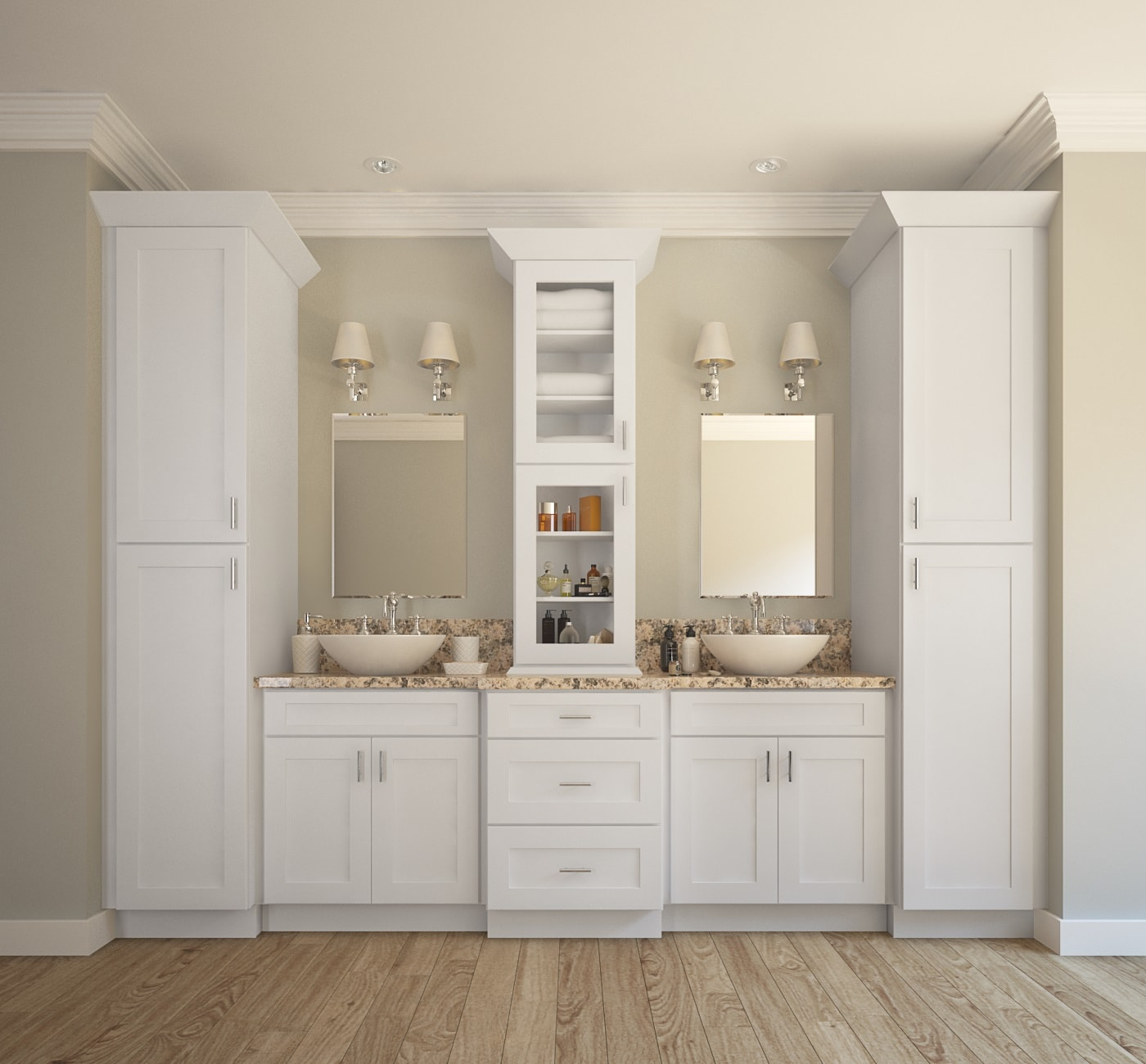 Aspen White Shaker - Ready to Assemble Bathroom Vanities & Cabinets ...