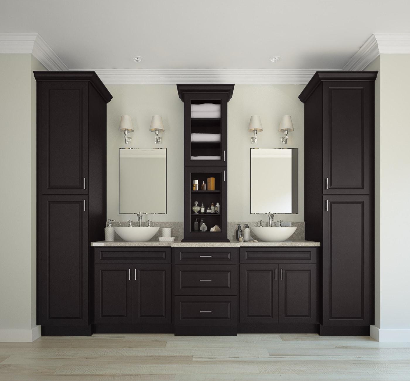 Dakota espresso ready to assemble bathroom vanities - Unassembled bathroom vanity cabinets ...