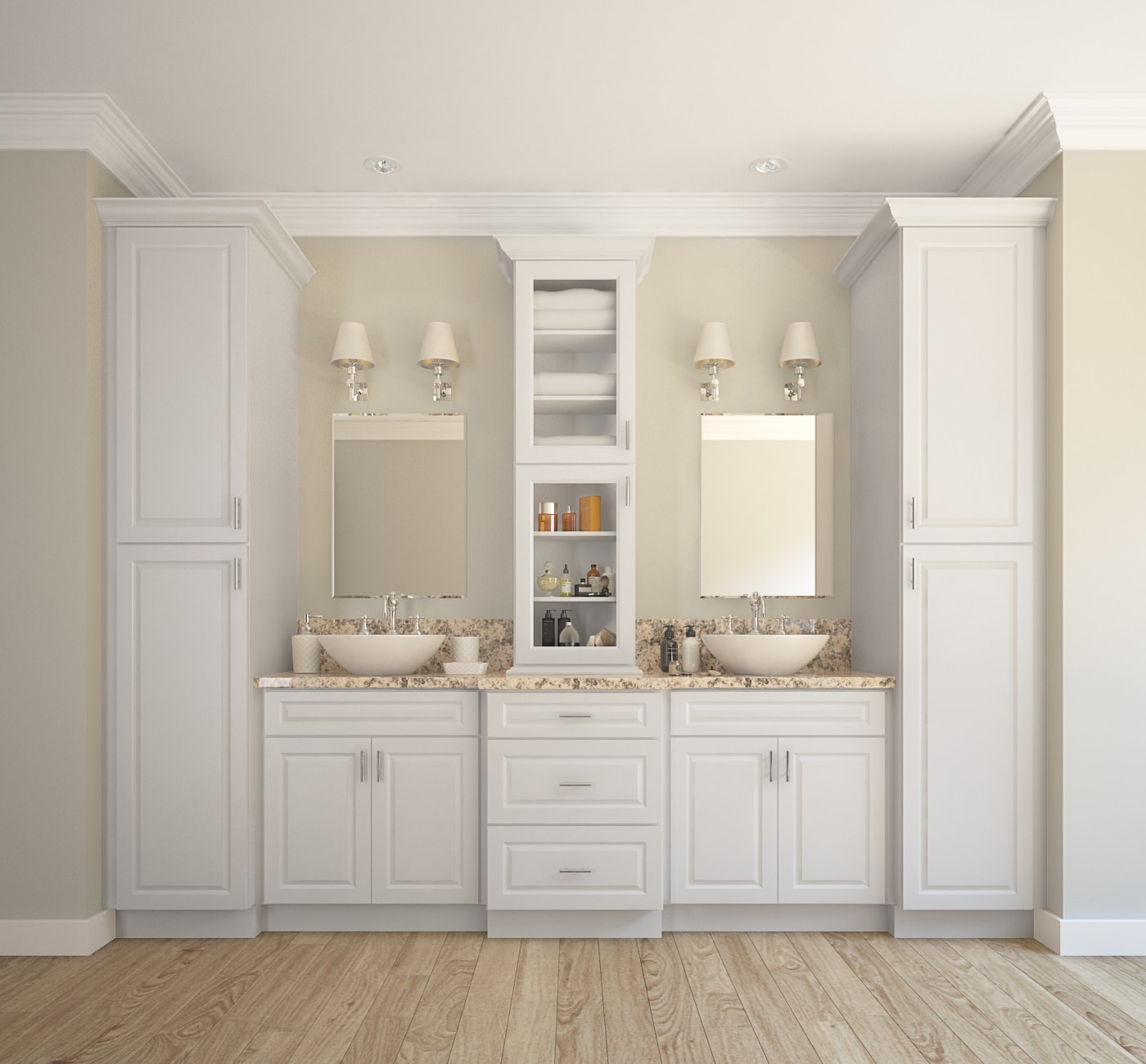 Dakota white ready to assemble bathroom vanities for Bathroom cabinets ready assembled