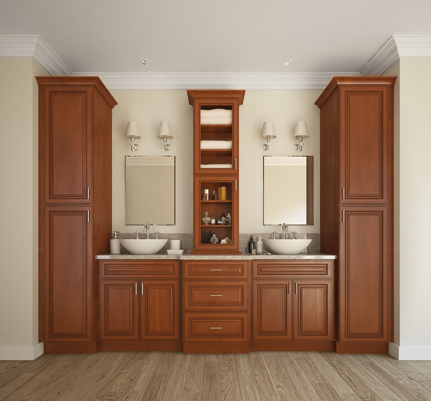 Pre assembled bathroom cabinets regency espresso for Pre assembled cupboards
