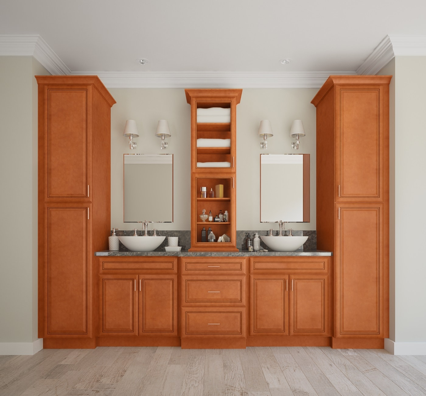 Bathroom Cabinets: Regency Spiced Glaze Pre-Assembled Bathroom Vanities