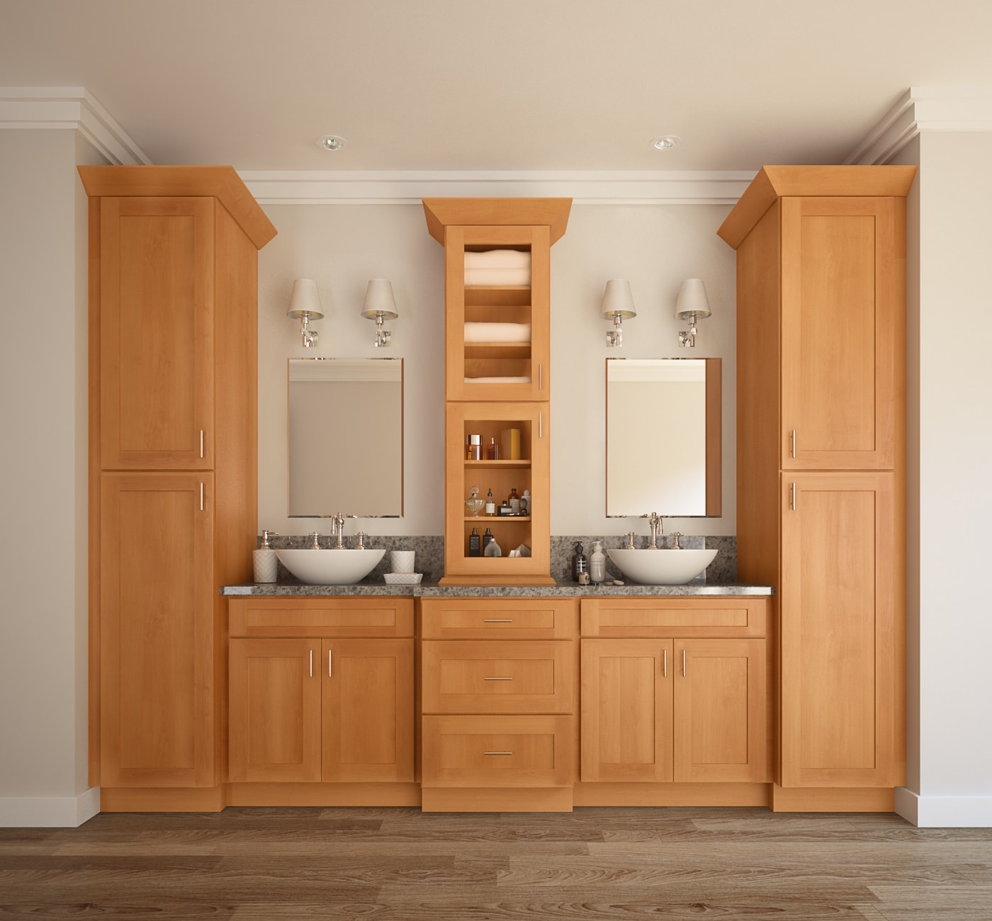 Shaker honey pre assembled bathroom vanities - Unfinished shaker bathroom vanity ...