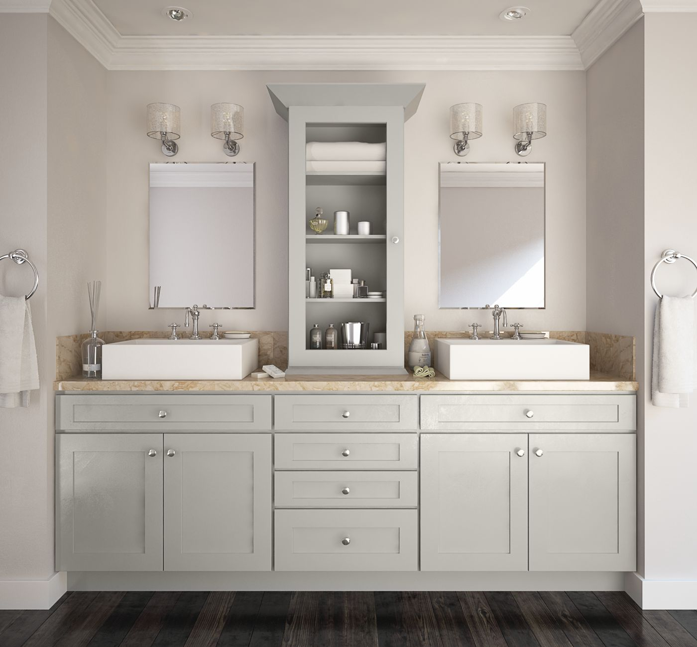 Society shaker steel gray pre assembled kitchen cabinets for Premade kitchen cabinets