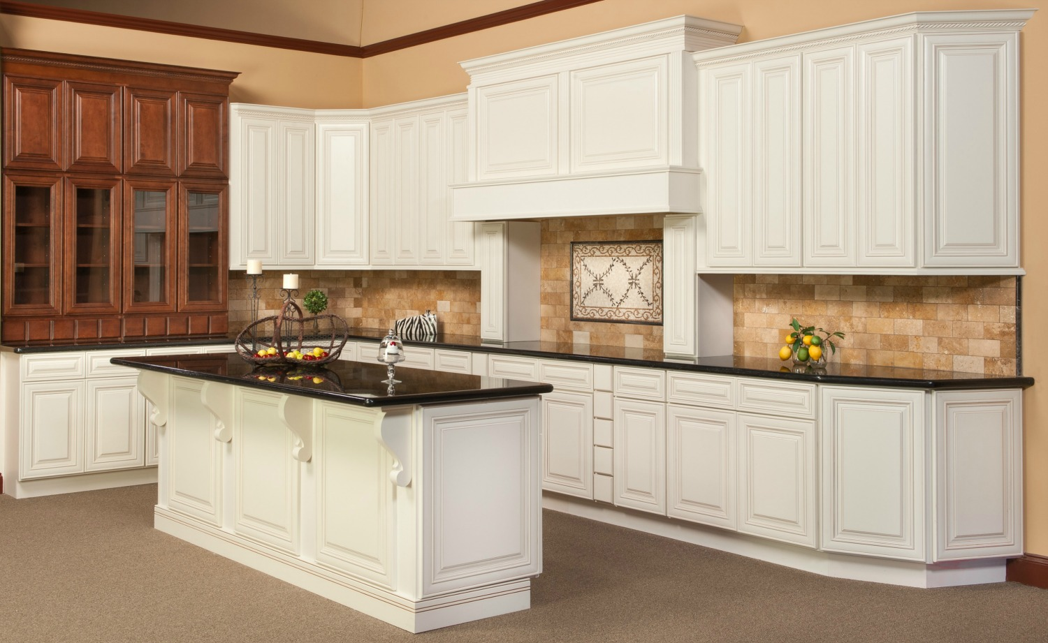 Kitchen cabinets antique white chocolate glaze for White kitchen cabinets