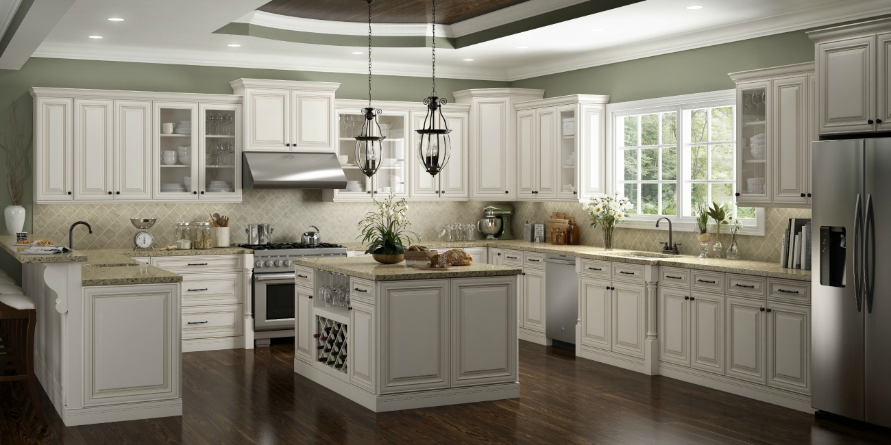 antique white shaker kitchen cabinets cambridge antique white glaze ready to assemble kitchen 10688