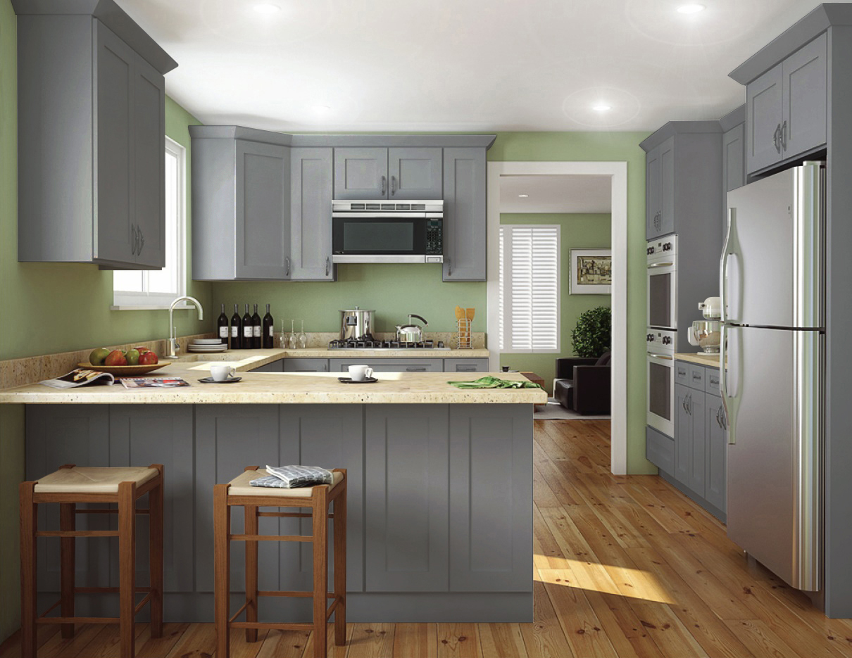 Society Shaker Steel Gray Pre Assembled Kitchen Cabinets