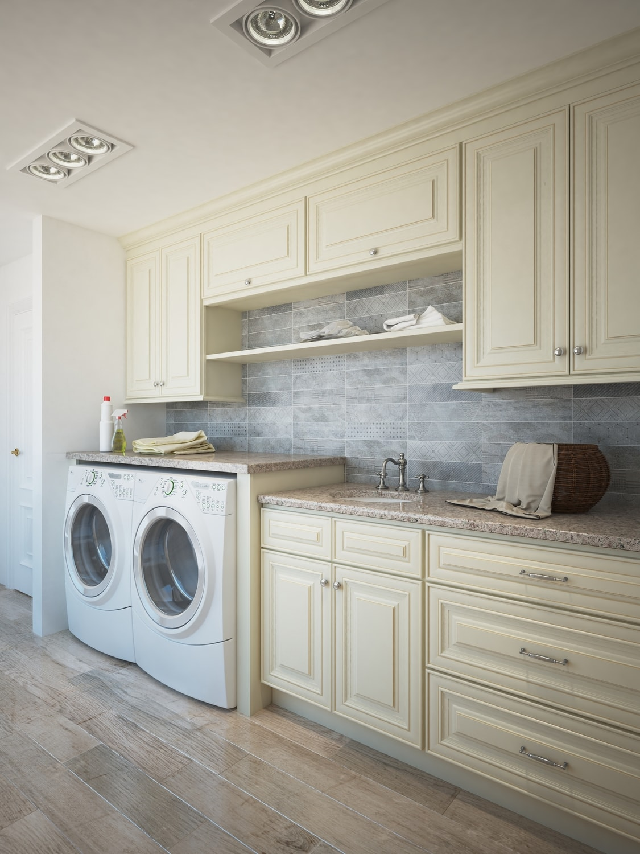 French Vanilla Glaze Ready To Emble Laundry Room Cabinets