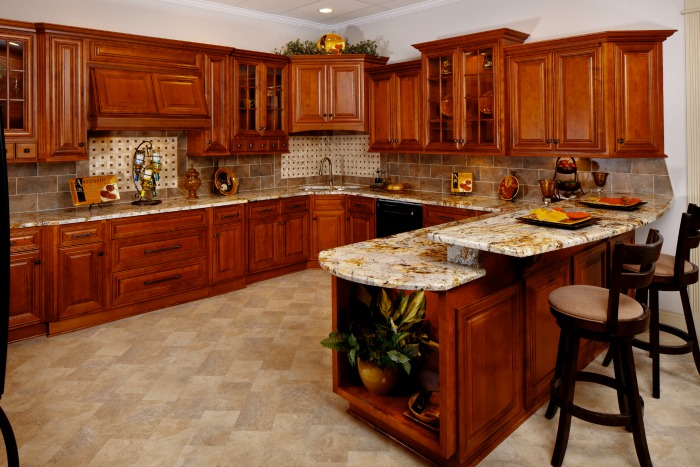 Glazed burnished cherry ready to assemble kitchen for Ready to assemble kitchen cabinets
