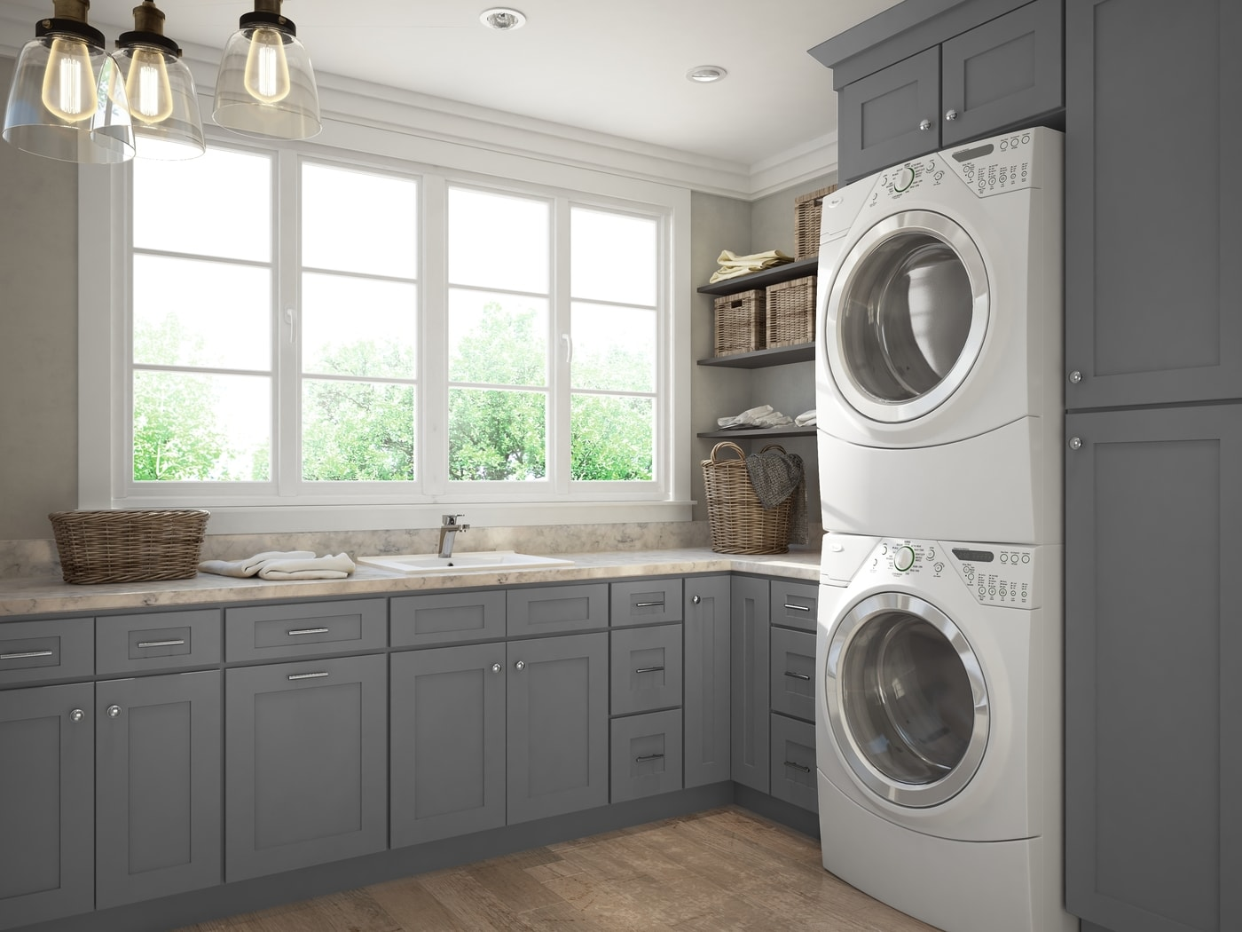 Graphite Grey Shaker Rta Laundry Room Cabinets The Rta Store