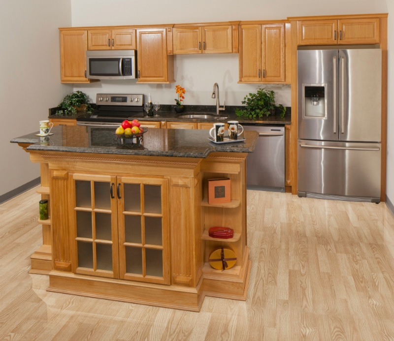 Harvest oak ready to assemble kitchen cabinets kitchen for Assembling kitchen cabinets
