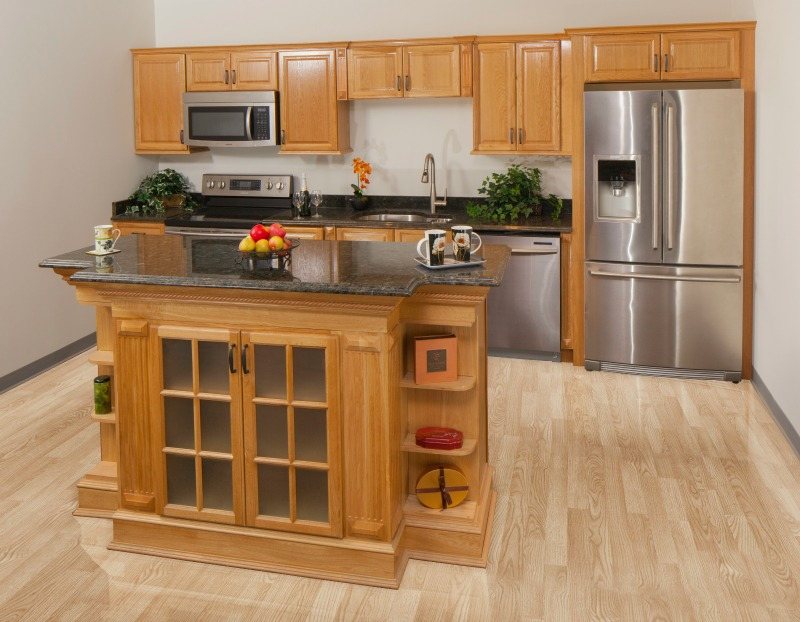 Harvest oak pre assembled kitchen cabinets for Pre assembled kitchen units
