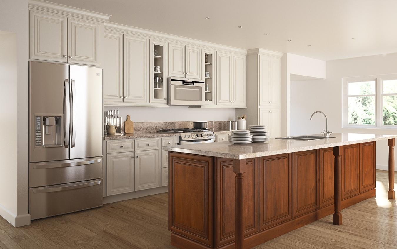 Cambridge Antique White Glaze Ready To Assemble Kitchen