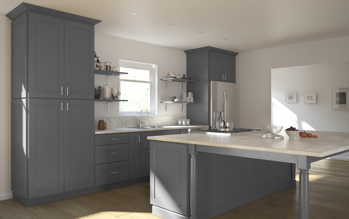 Graphite Grey Shaker Ready To Assemble Kitchen Cabinets The Rta