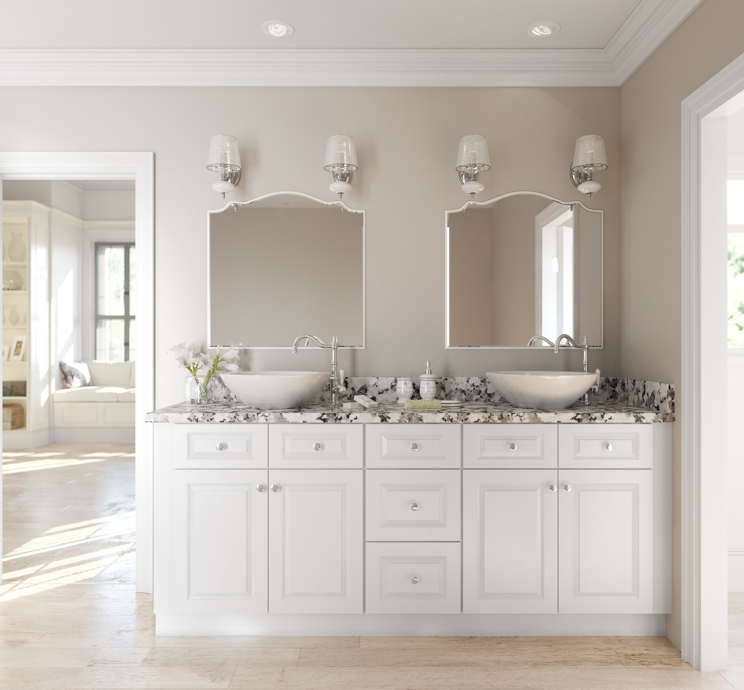 Lakewood white ready to assemble bathroom vanities - Small white bathroom cabinet floor ...