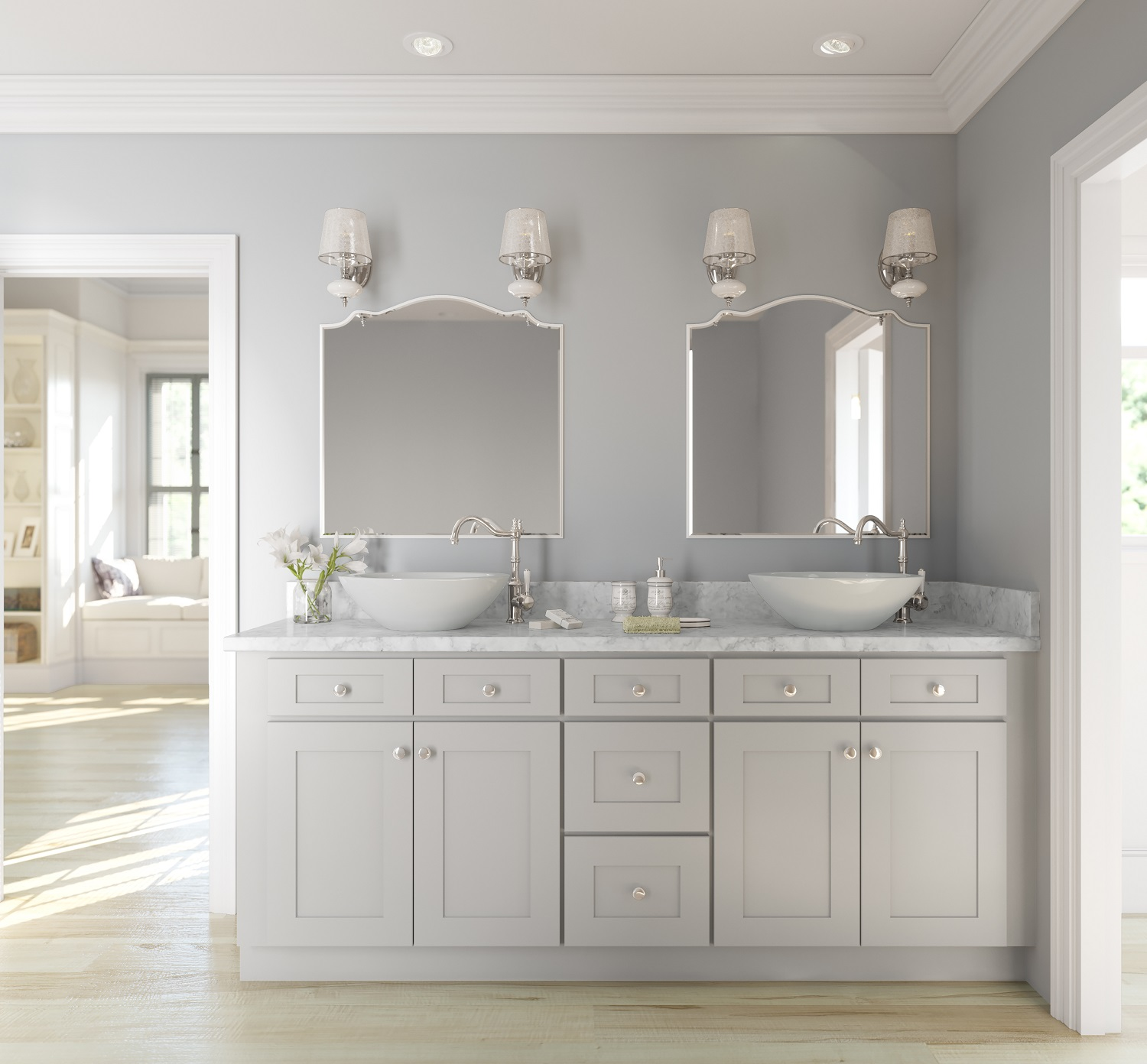 Stone Shaker Ready To Assemble Bathroom Vanities Cabinets - Light gray bathroom cabinets