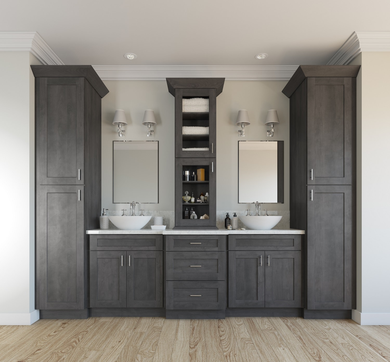 Natural grey shaker ready to assemble bathroom vanities - Bathroom vanities for small bathrooms ...
