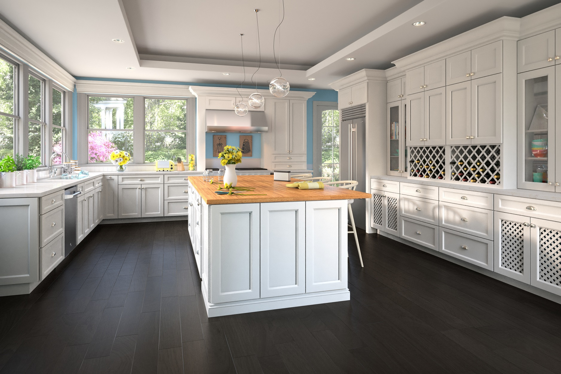 Superbe Providence White Pre Assembled Kitchen Cabinets