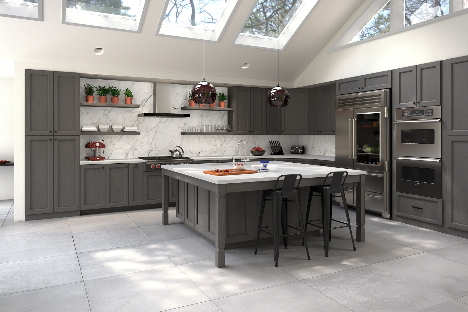 providence slate grey pre assembled kitchen cabinets the rta store. Black Bedroom Furniture Sets. Home Design Ideas