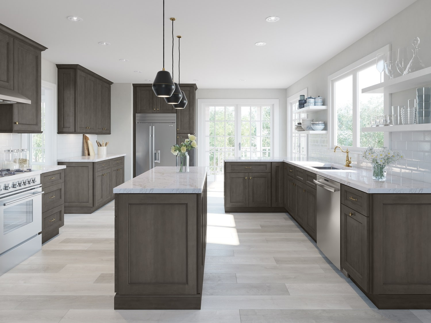 Providence Natural Grey Pre Assembled Kitchen Cabinets