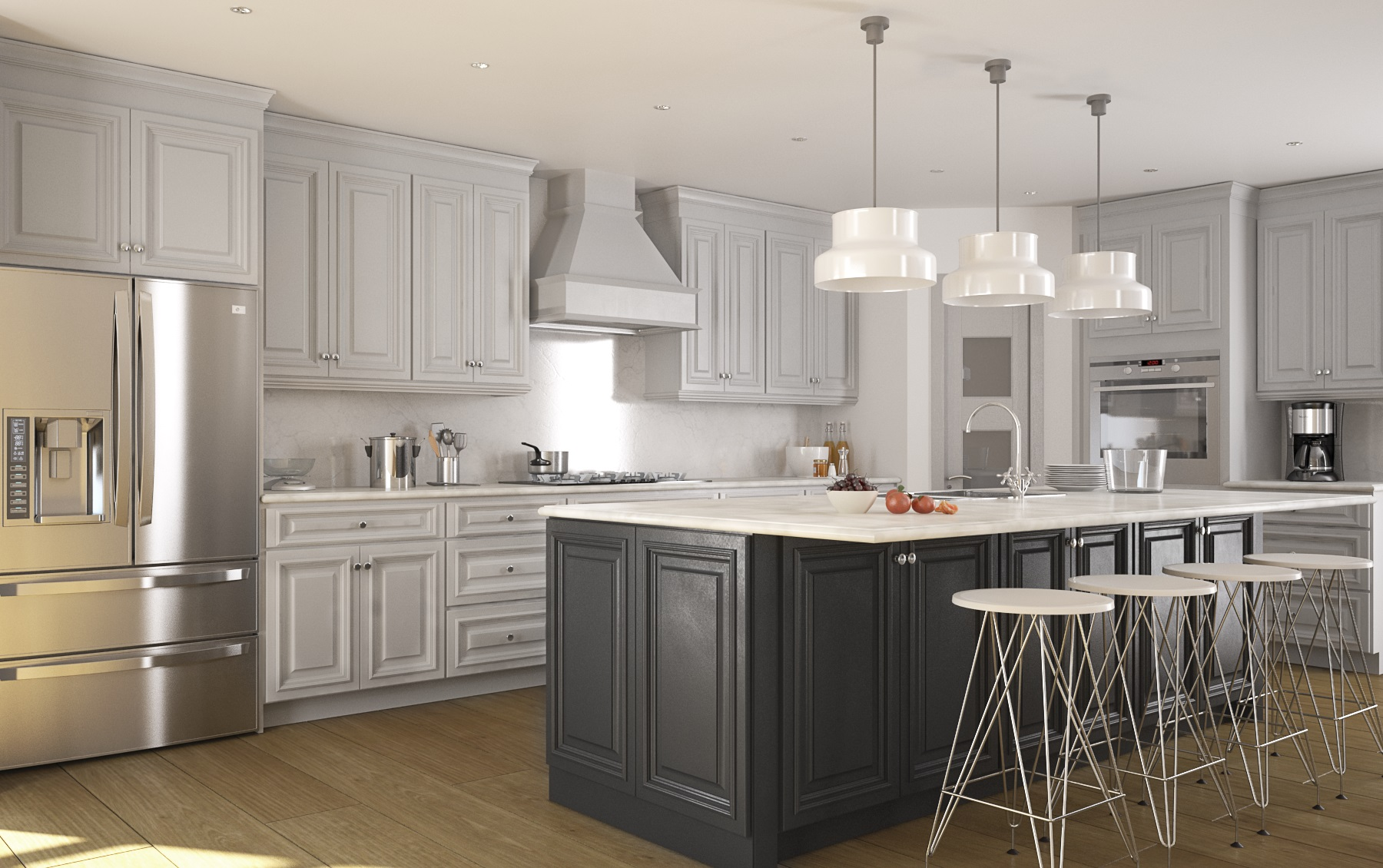 Roosevelt dove gray pre assembled kitchen cabinets the for Kitchen kitchen kitchen