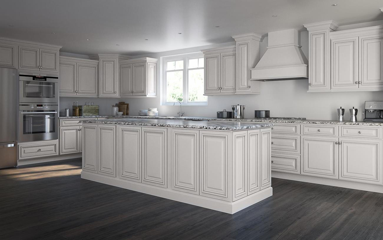 Roosevelt white pre assembled kitchen cabinets the rta store for Assembled kitchen cabinets