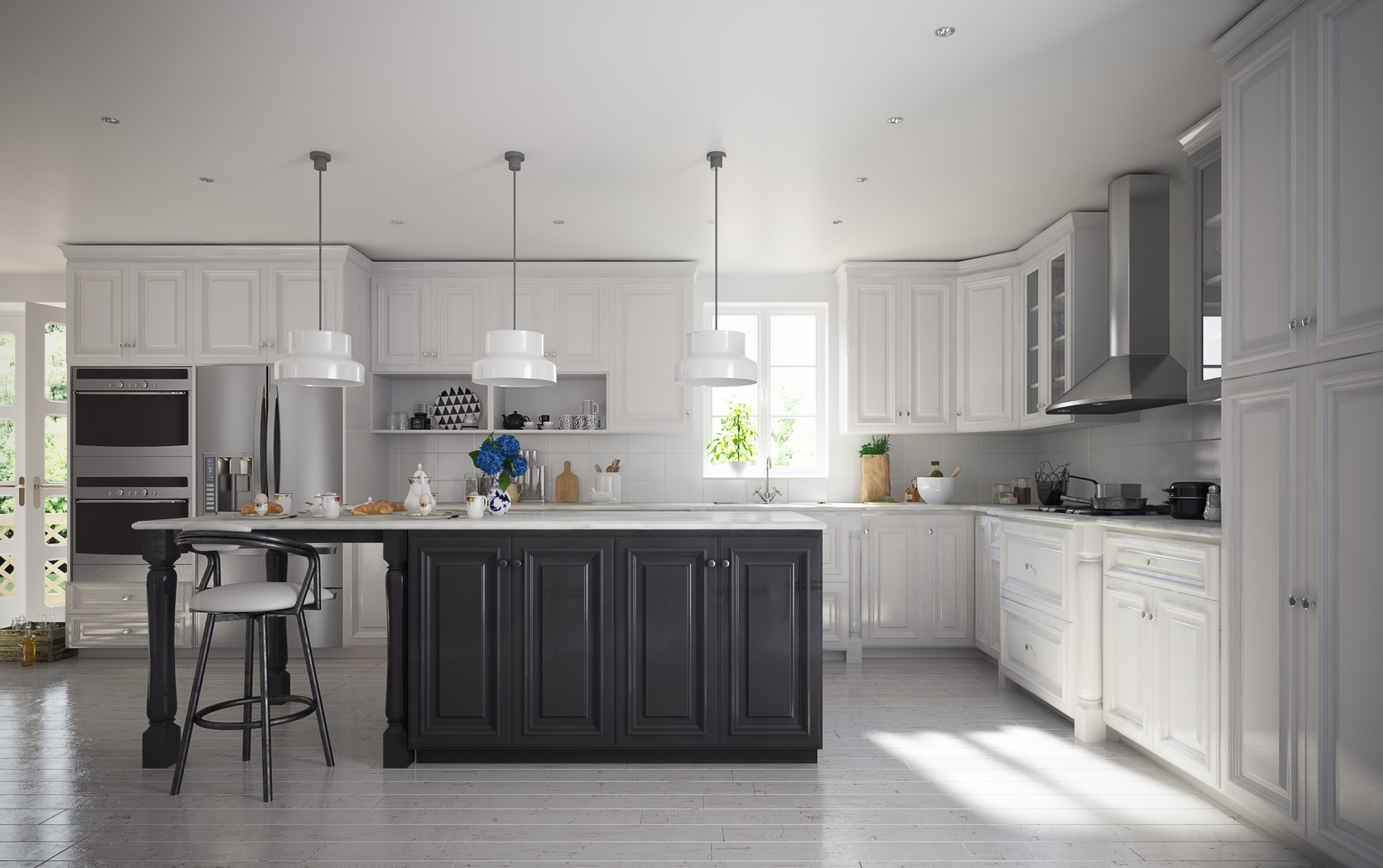 Semi custom roosevelt white pre assembled kitchen cabinets for Pre assembled kitchen units
