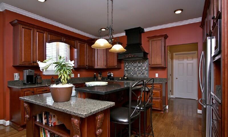 Mocha With Black Accent Semi Custom Pre Assembled Kitchen Cabinets