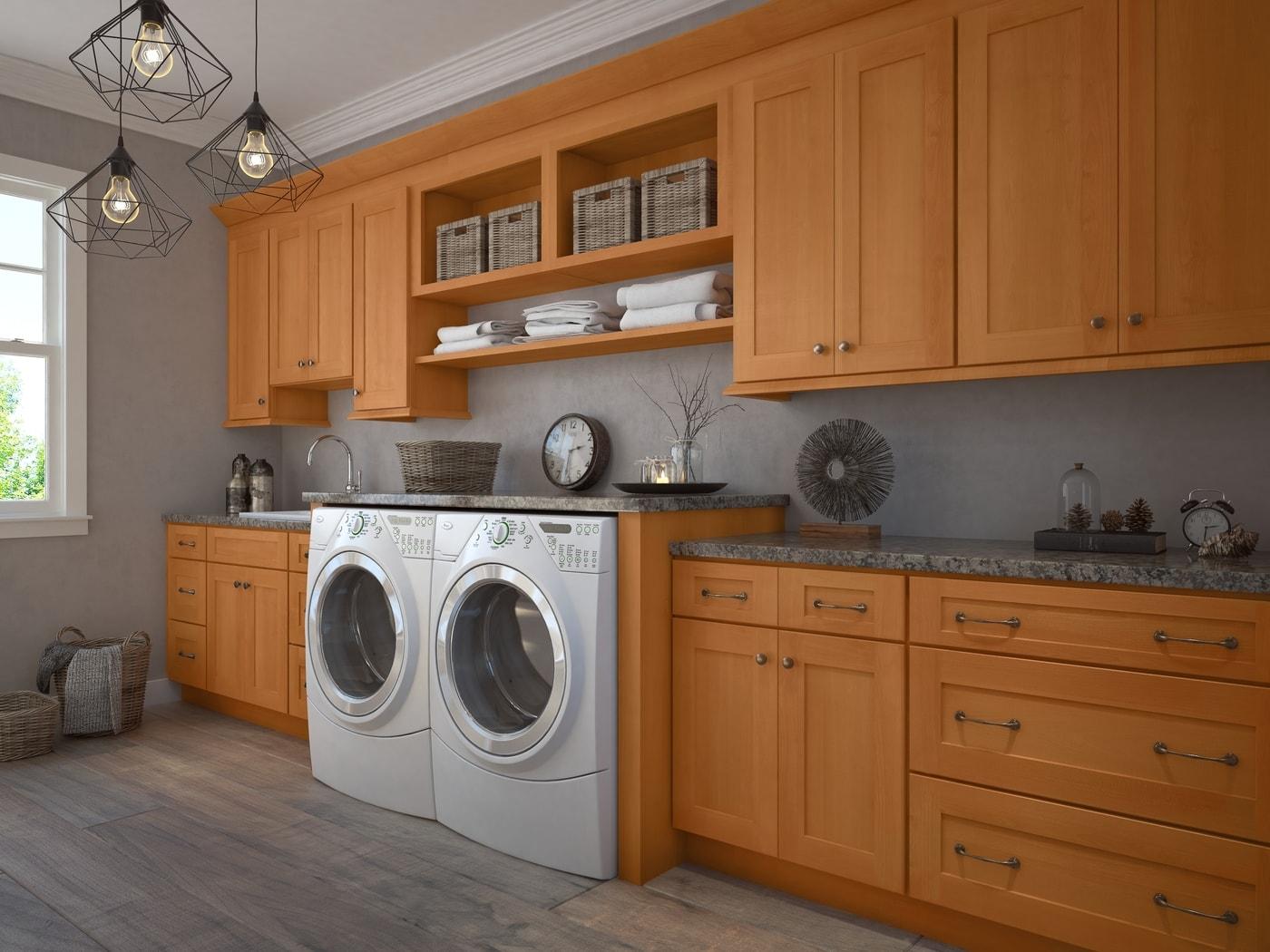 Shaker Honey - Ready to Assemble laundry room Cabinets - Laundry ...