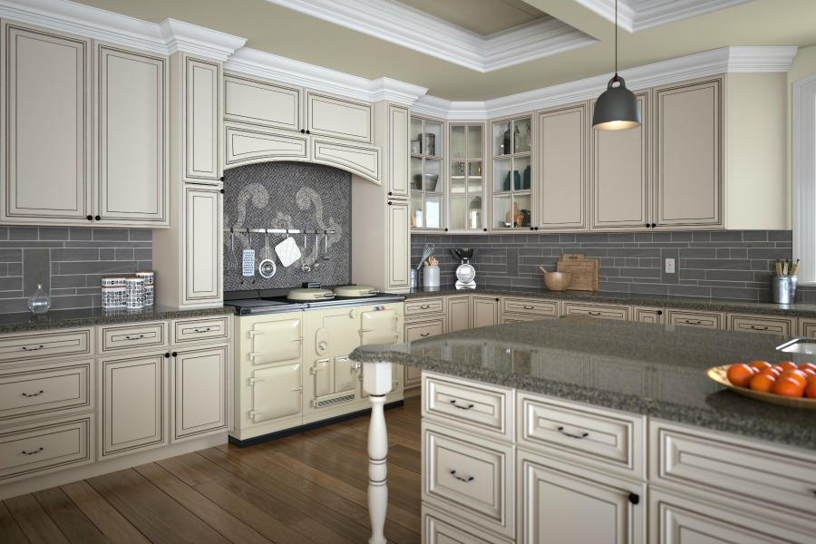 Signature vanilla glaze pre assembled kitchen cabinets for Ready assembled kitchen units