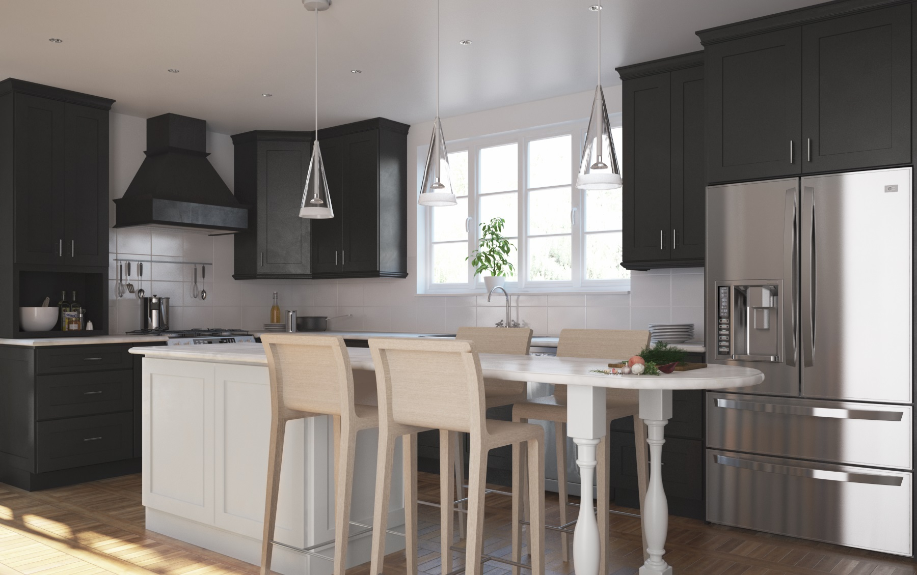 Society shaker black pre assembled kitchen cabinets the for Pre assembled kitchen units