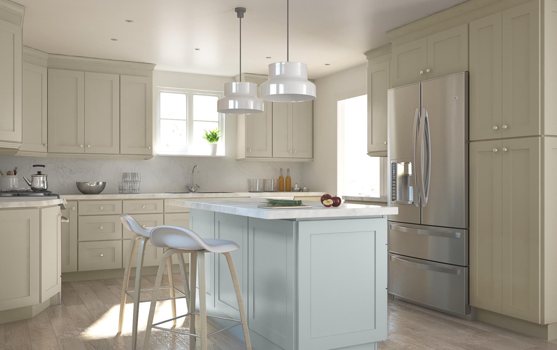 Society shaker vanilla for Already made kitchen cabinets