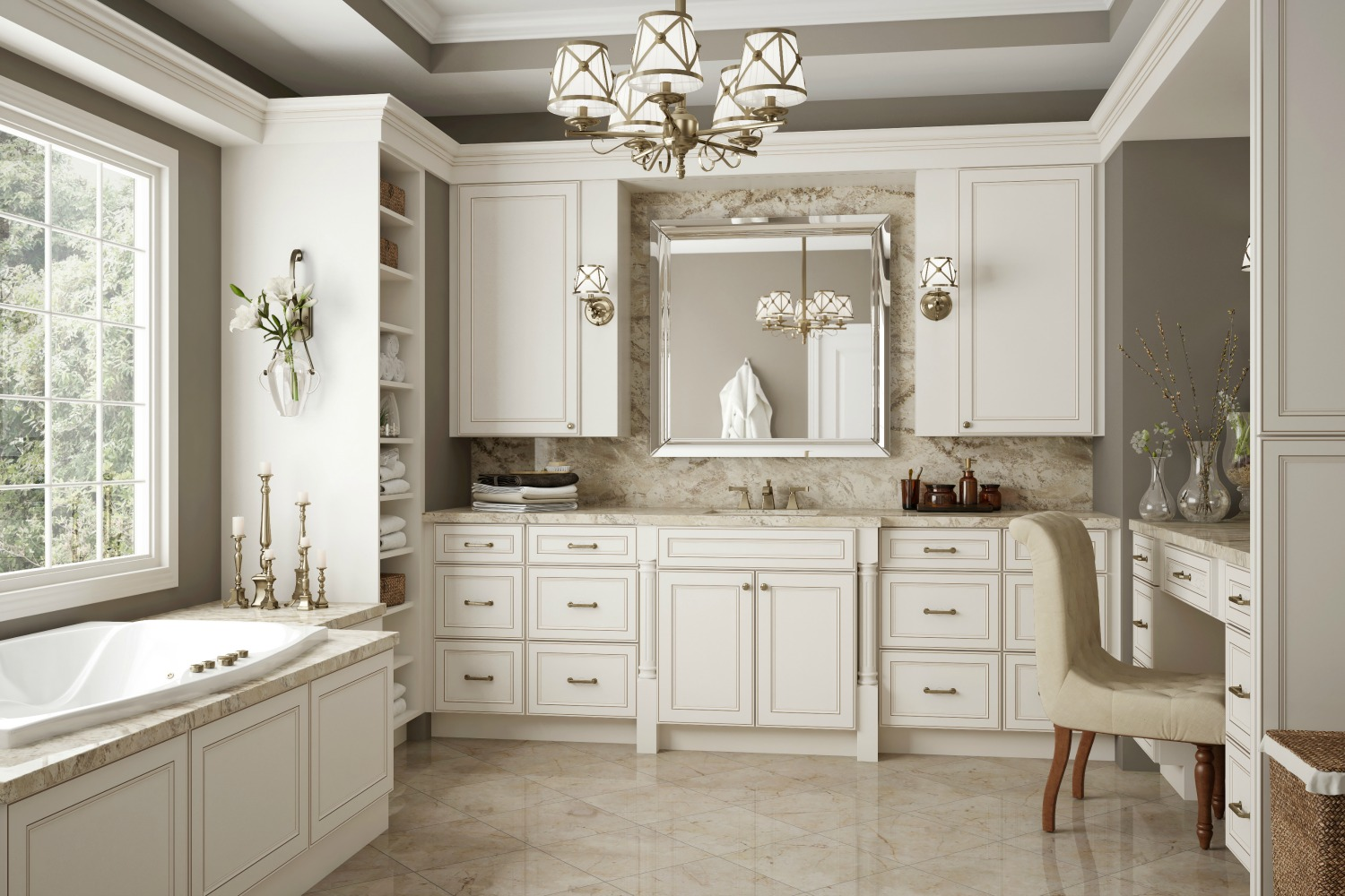 Brantley antique white glaze ready to assemble kitchen for Kitchen cabinets white