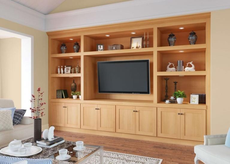 Shaker Honey RTA TV Room Cabinets