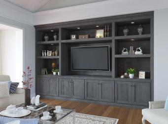 Natural Graphite Grey Shaker Pre-Assembled TV Room Cabinets