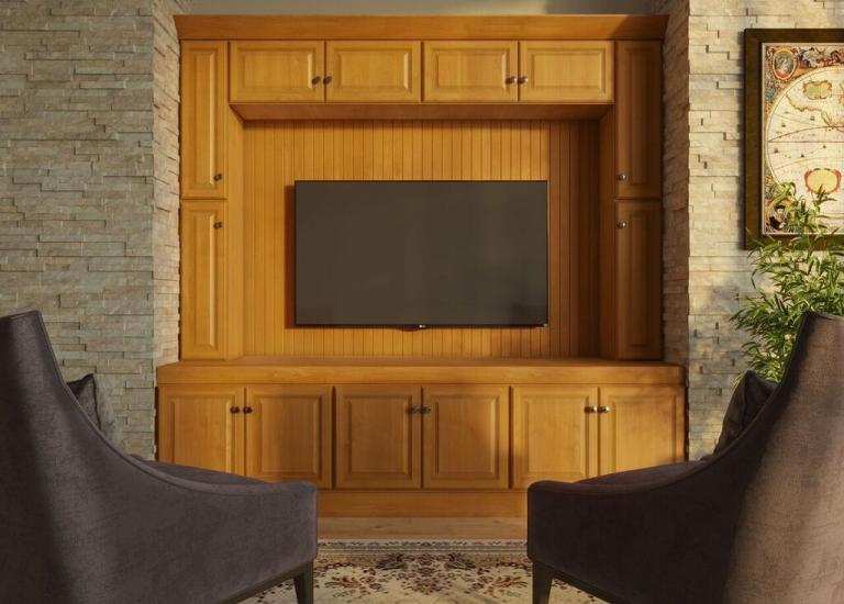 Harvest Oak RTA TV Room Cabinets