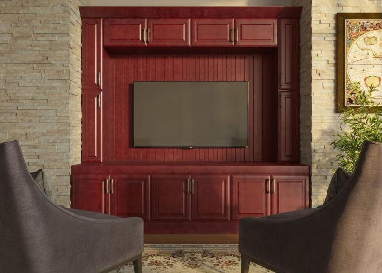 Regency Pomegranate Glaze RTA TV Room Cabinets