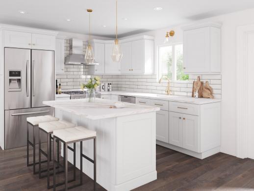 Aspen White Shaker Pre Assembled Kitchen Cabinet The Rta Store