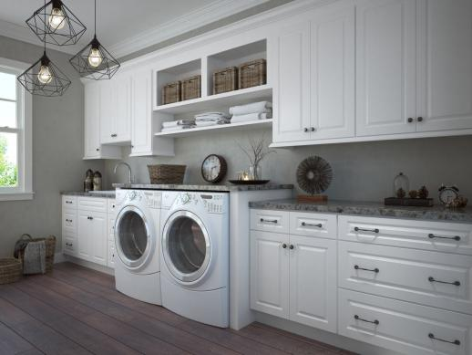 Dakota White Rta Laundry Room Cabinets, White Wall Cabinets For Laundry Room