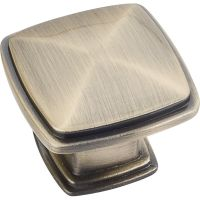"""Jeffrey Alexander By Hardware Resource - Milan 1 Collection Knobs - 1.188"""" Overall Length in Brushed Antique Brass"""