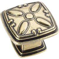 """Jeffrey Alexander By Hardware Resource - Milan 2 Collection Knobs - 1.188"""" Overall Length in Distressed Antique Brass"""