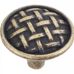 "Jeffrey Alexander by Hardware Resources - Ashton Collection Cabinet Knob - 1.62"" Diameter in Distressed Antique Brass"