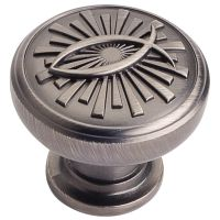 """Jeffrey Alexander By Hardware Resource - Curio Collection Knobs - 1.375"""" Diameterin Brushed Pewter"""