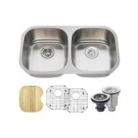 """Double Bowl Stainless Steel Sink Ensemble - Fits 33"""" Minimum Cabinet Size"""