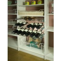 "Chrome 24"" Wire Pullout Wine Bottle Rack for a 14"" Deep Pantry"